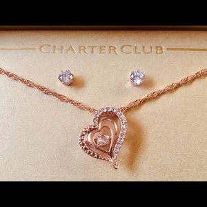 Charter Club Necklace & earrings ( Rose Gold )